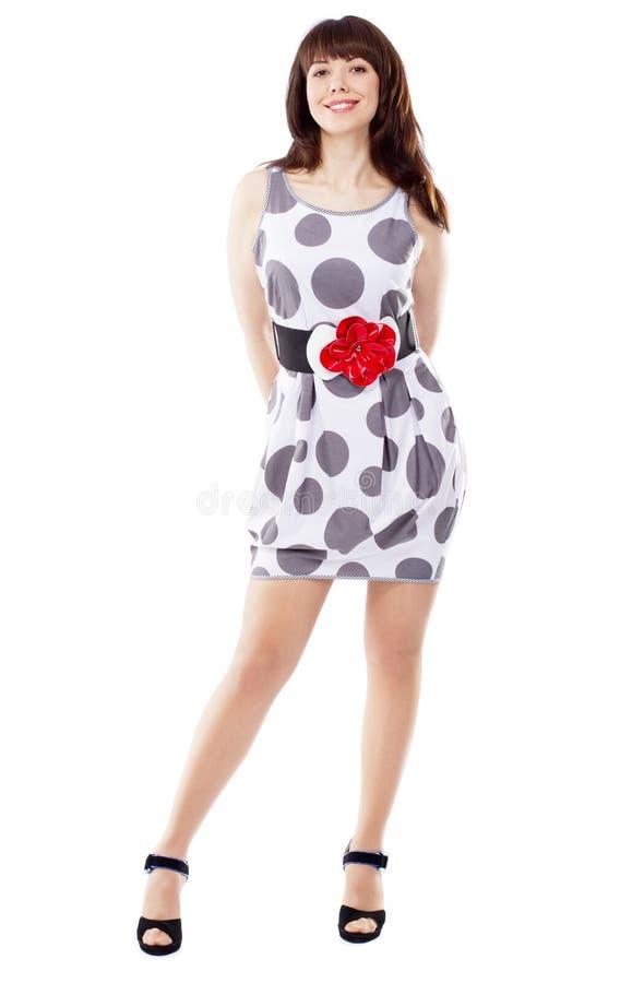 Mulher bonito brincalhão no vestido à moda foto de stock royalty free
