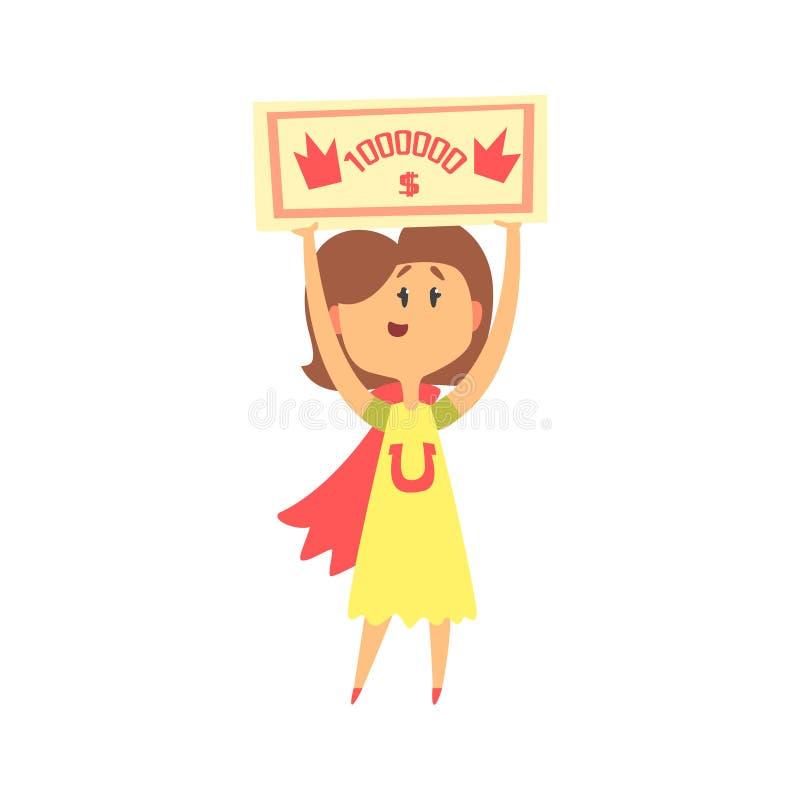 Mulher bonito dos desenhos animados com verificação para um milhão de dólares em suas mãos Ilustração colorida do vetor do caráte ilustração stock