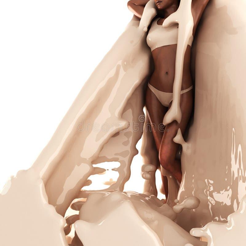 Mulher bonito no creme ilustração royalty free