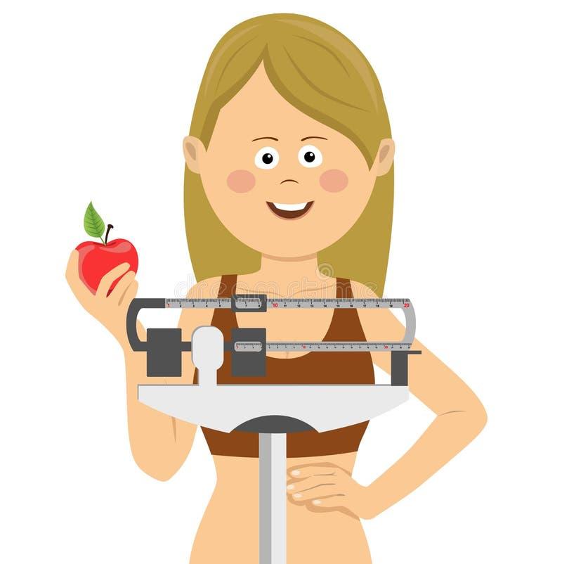 Mulher bonito nova que está na escala de peso que guarda a maçã vermelha Conceito saudável do alimento ilustração do vetor