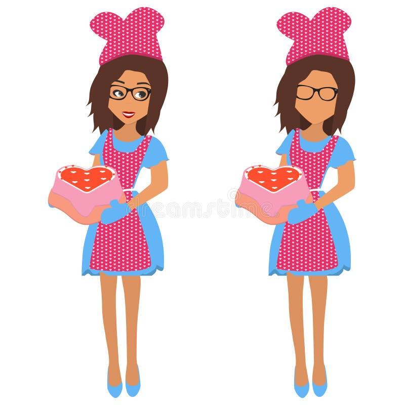 Mulher bonito que guarda a bandeja de cozimento com coração grande do bolo e corações pequenos dos bolos Ilustração do vetor ilustração do vetor
