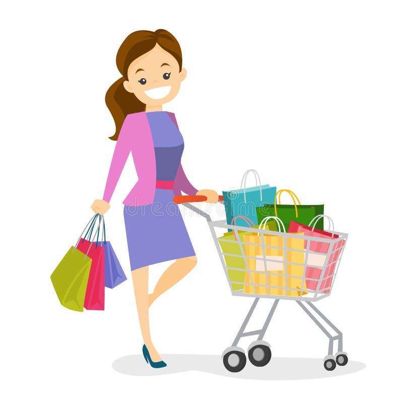 Mulher branca caucasiano nova com sacos de compras ilustração royalty free
