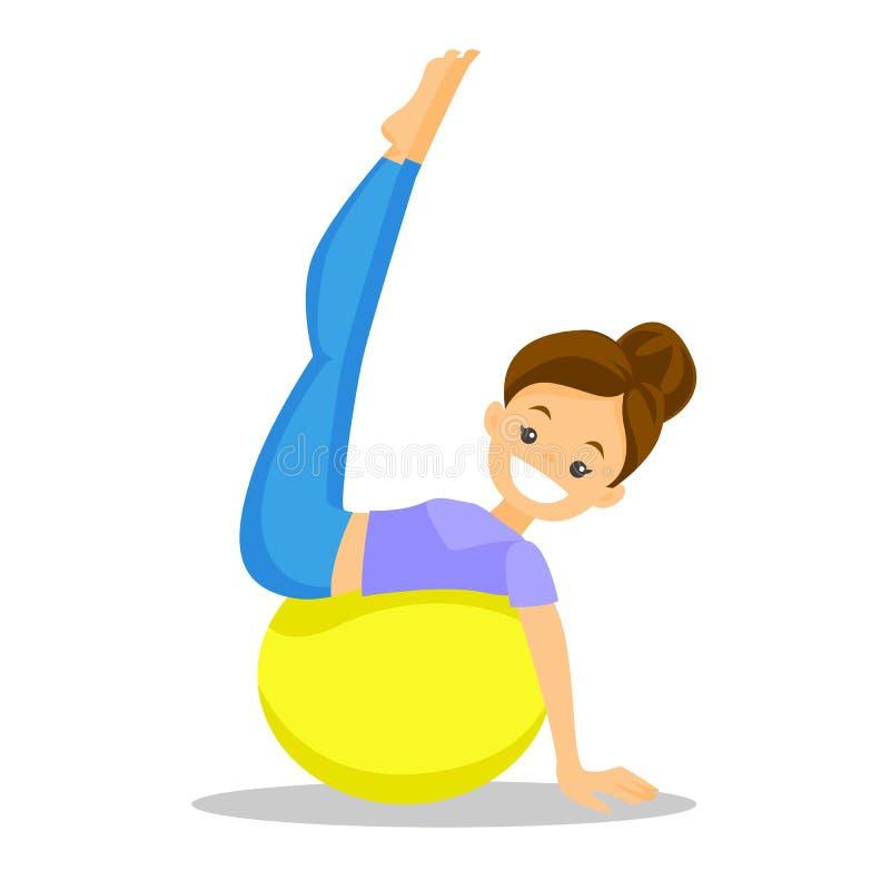 Mulher branca caucasiano que exercita com bola do ajuste ilustração royalty free