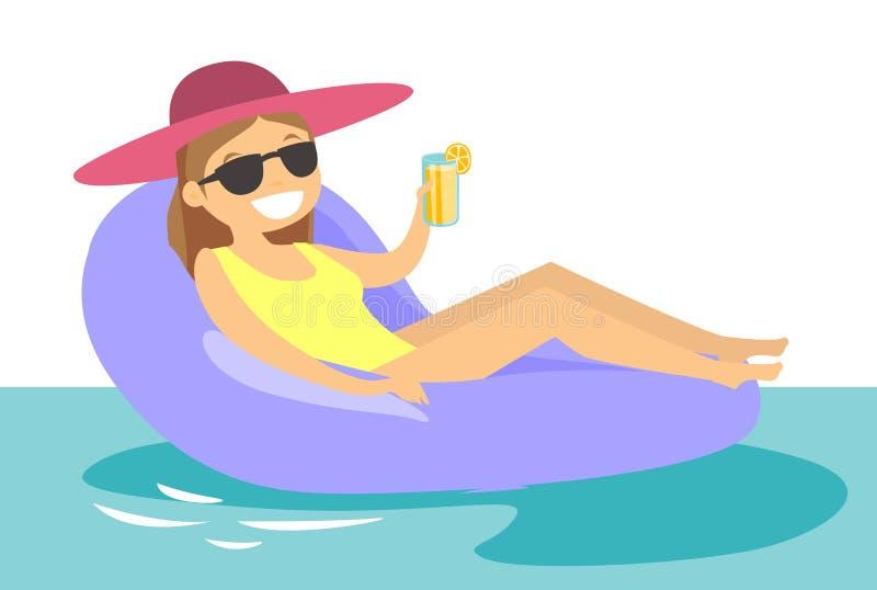 Mulher branca caucasiano que relaxa na piscina ilustração do vetor