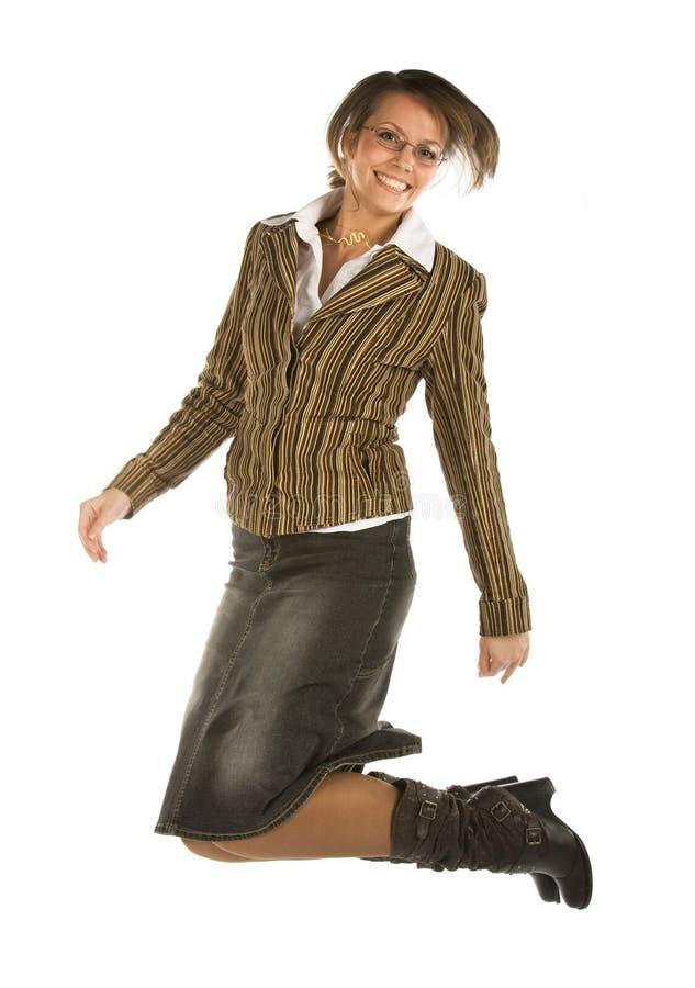 Mulher branca de salto nova de riso fotos de stock