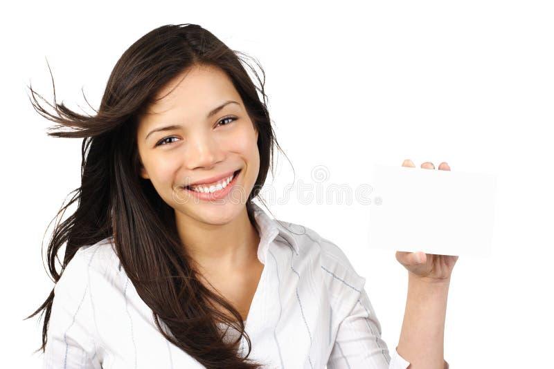 Mulher branca do sinal imagem de stock
