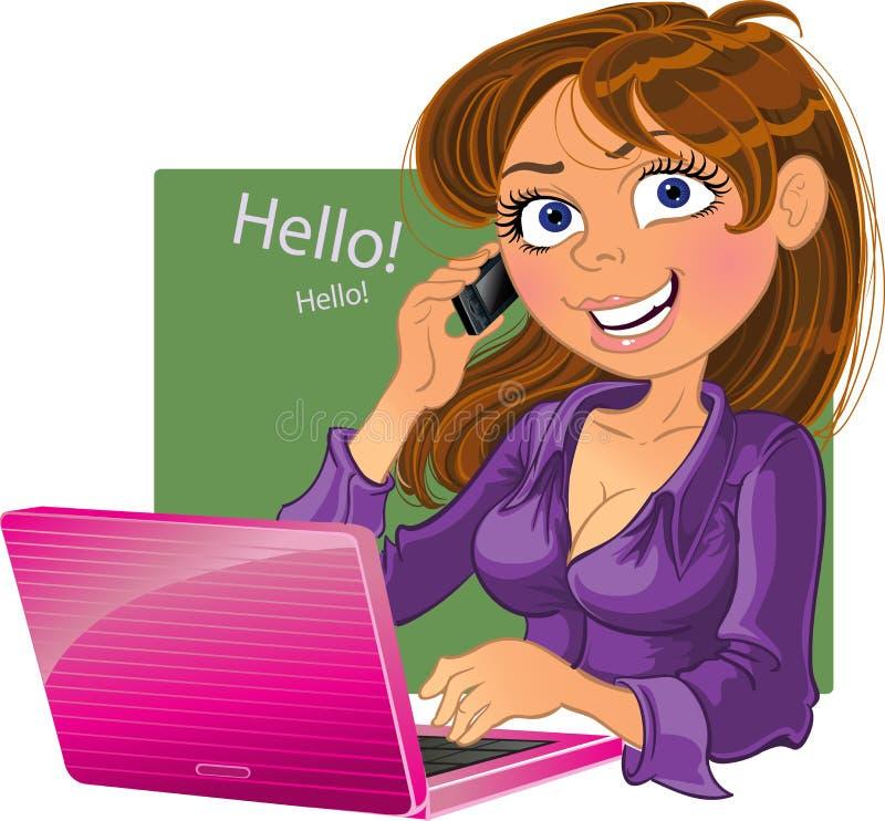 Mulher Brown-haired com telefone e portátil ilustração do vetor