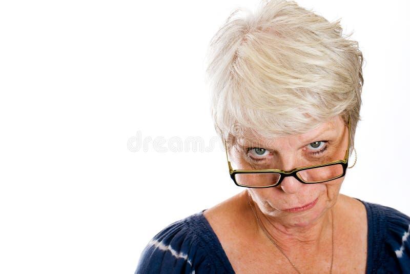 Mulher céptica fotografia de stock