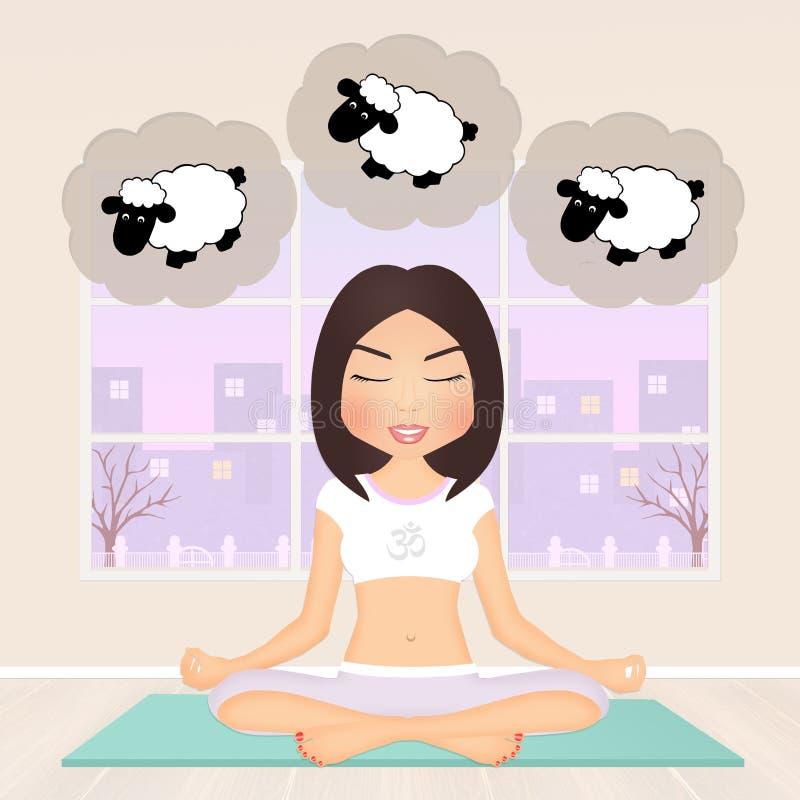 A mulher cai adormecido durante a ioga ilustração do vetor