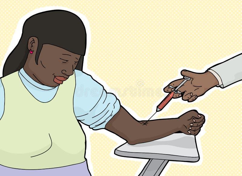 Mulher calma que obtém a análise de sangue ilustração stock