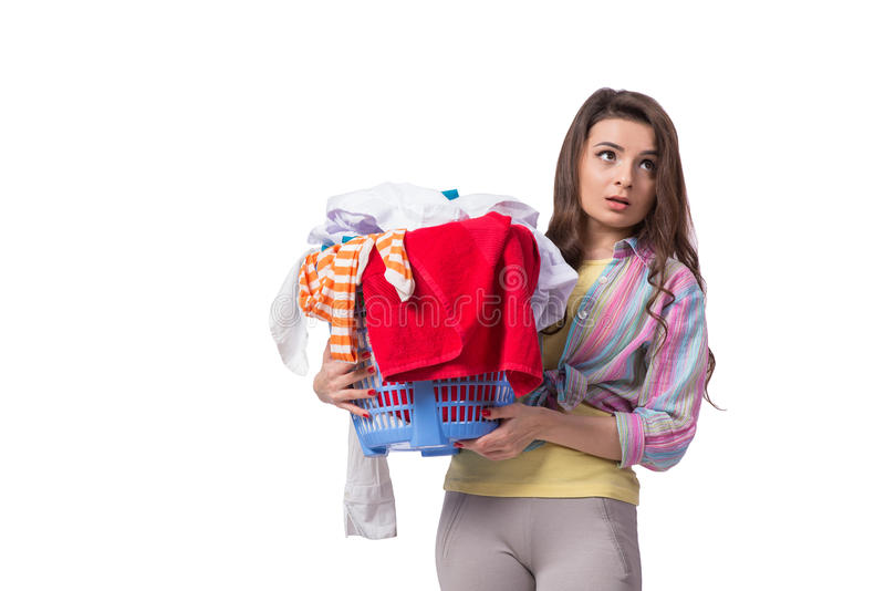 A mulher cansado após ter feito a lavanderia isolada no branco fotografia de stock