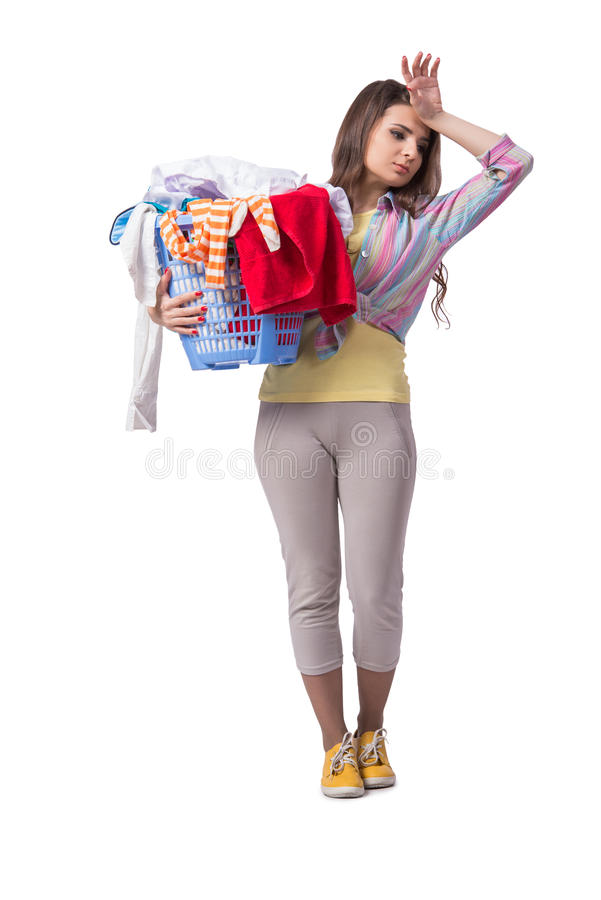 A mulher cansado após ter feito a lavanderia isolada no branco fotos de stock