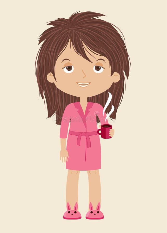 Mulher cansado/sonolento com xícara de café ilustração stock