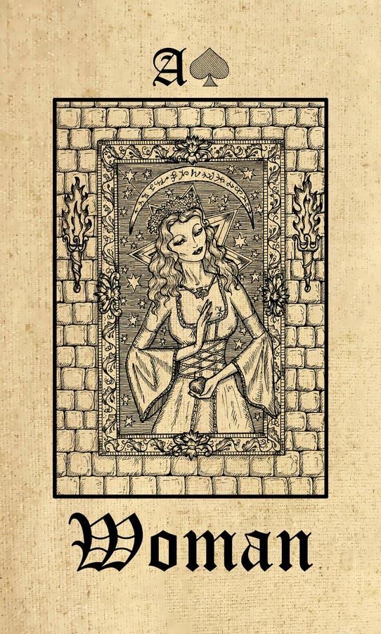 Mulher Cartão de tarô da plataforma gótico do oráculo dos mistérios de Lenormand ilustração royalty free