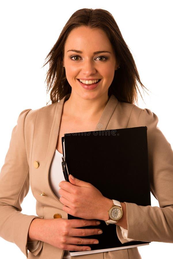 A mulher caucasiano asiática bonita guarda um dobrador foto de stock