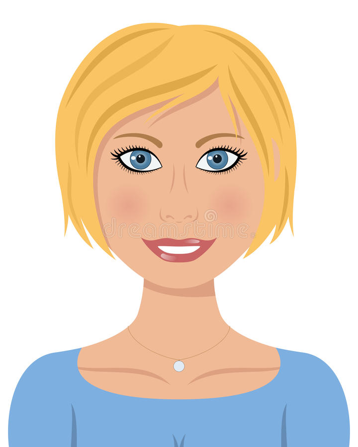 Mulher caucasiano bonita com cabelo louro ilustração royalty free