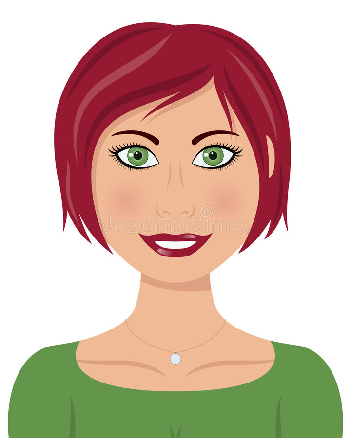 Mulher caucasiano bonita com cabelo vermelho ilustração royalty free