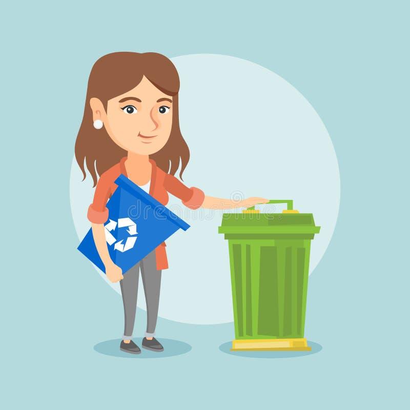 Mulher caucasiano com reciclagem e balde do lixo ilustração royalty free