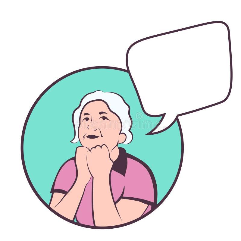Mulher caucasiano madura que pensa sobre a vida vetor colorido com copyspace ilustração royalty free