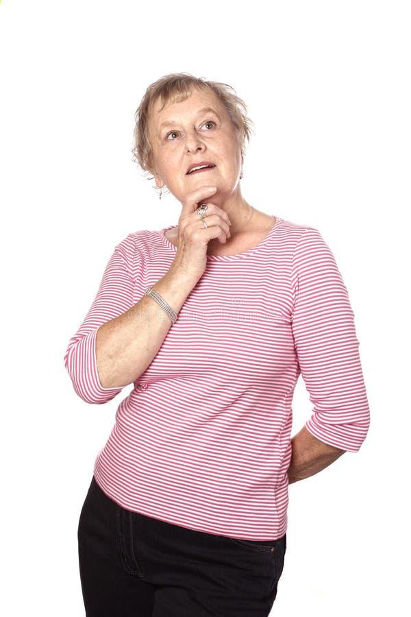 Mulher caucasiano no pose de pensamento, isolado imagens de stock