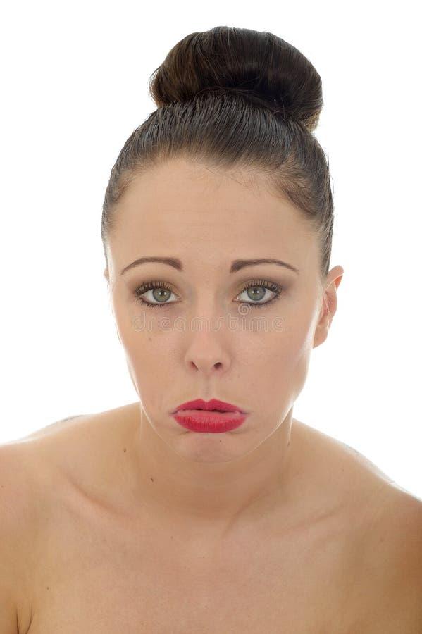 Mulher caucasiano nova infeliz miserável triste atrativa em sua TW imagens de stock