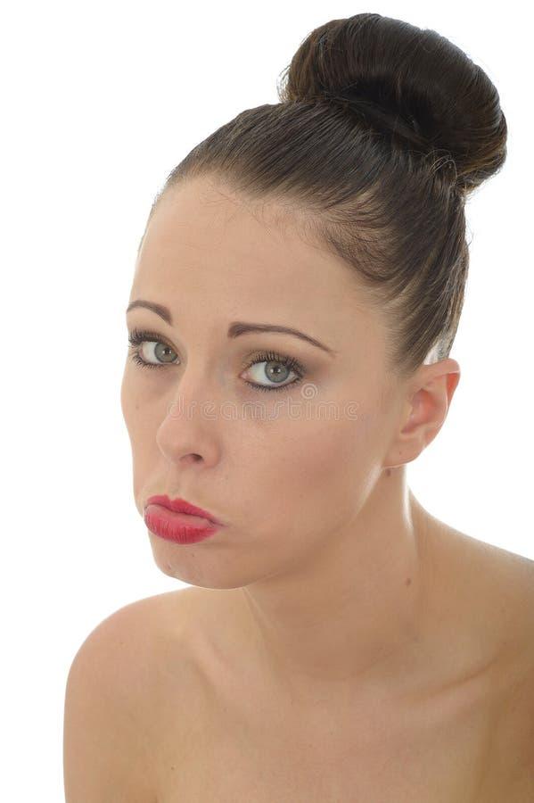 Mulher caucasiano nova infeliz miserável triste atrativa em sua TW foto de stock