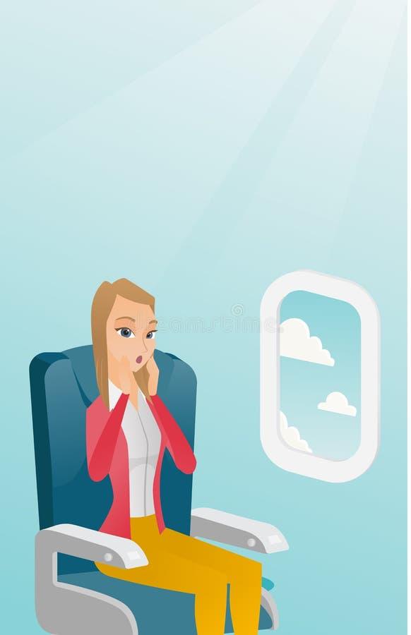 Mulher caucasiano nova que sofre do aerophobia ilustração royalty free