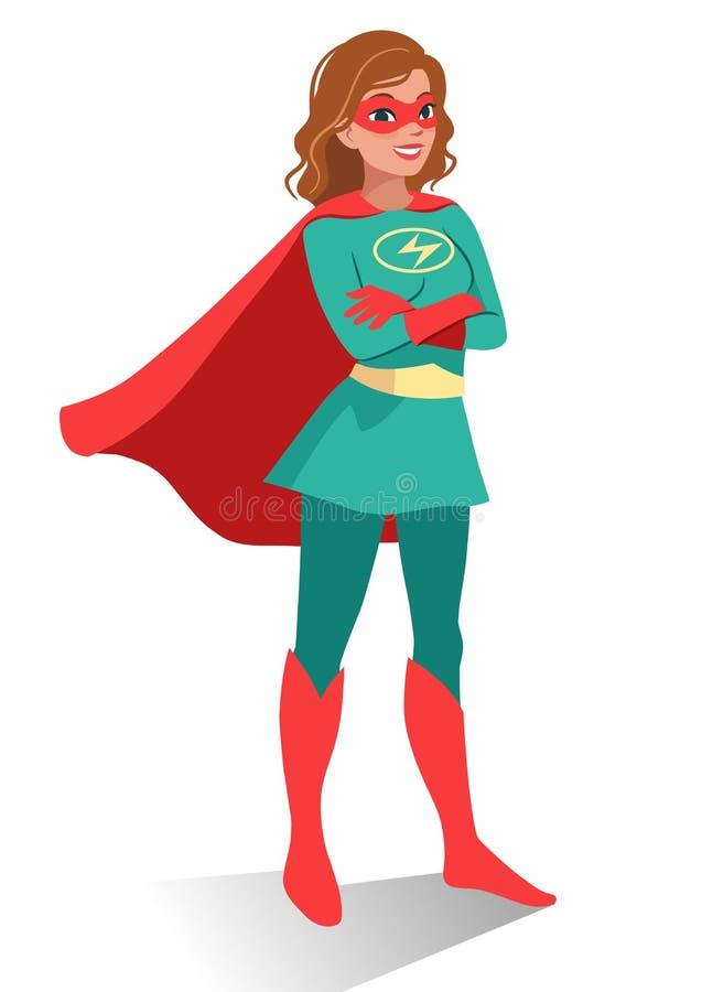 Mulher caucasiano nova segura amigável de sorriso no super-herói co ilustração royalty free