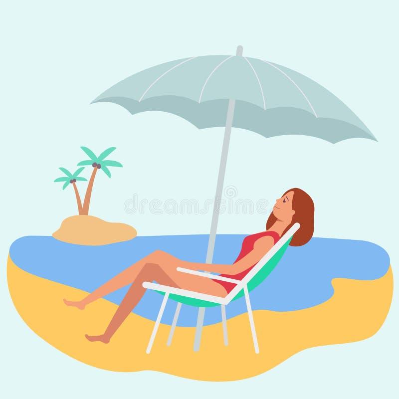 Mulher caucasiano ou uma menina em um cabelo do marrom do roupa de banho que encontra-se em uma cadeira de plataforma na praia ilustração royalty free