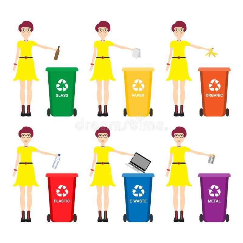 Mulher caucasiano que joga afastado o lixo Mulher que está perto de seis escaninhos e do lixo ausente de jogo em um escaninho apr ilustração do vetor