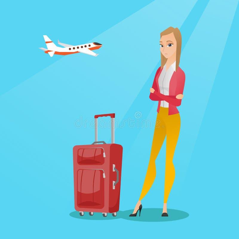 Mulher caucasiano que sofre do medo do voo ilustração stock