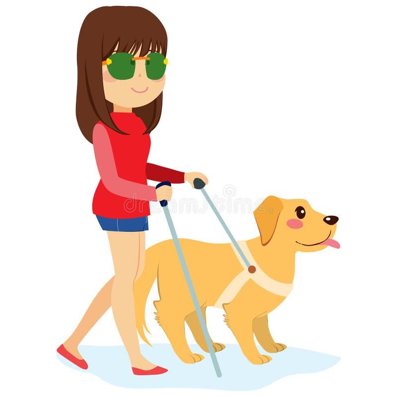 Mulher cega com cão ilustração do vetor