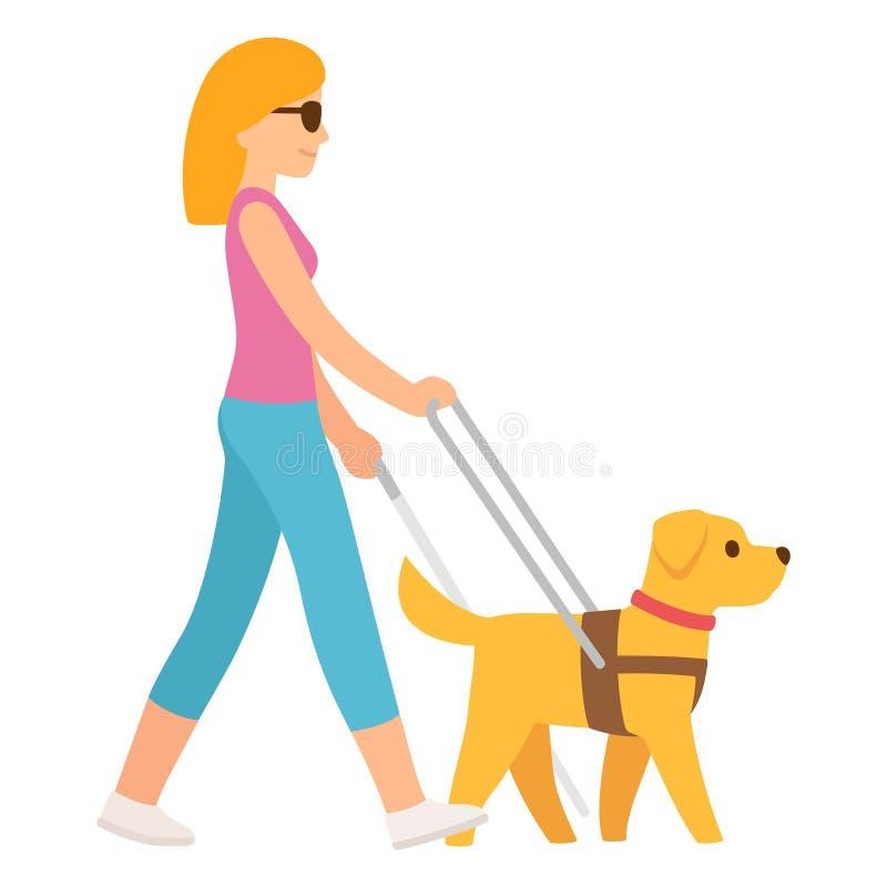 Mulher cega com c?o de guia ilustração stock