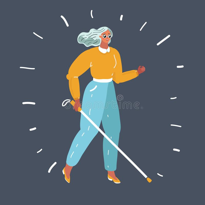 Mulher cega com vara ilustração stock