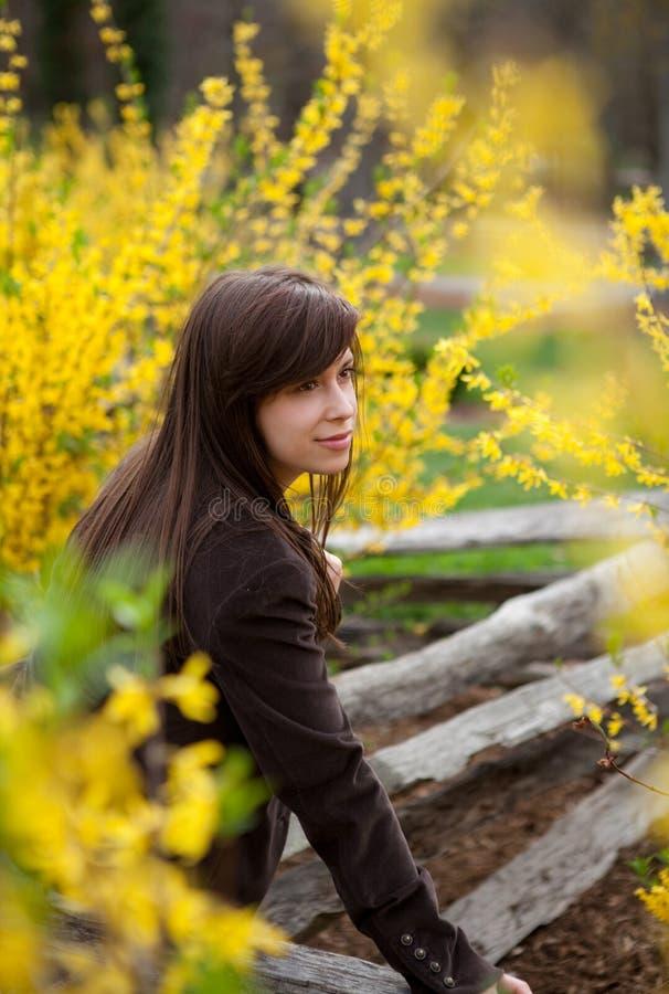Mulher cercada por flores amarelas imagem de stock royalty free