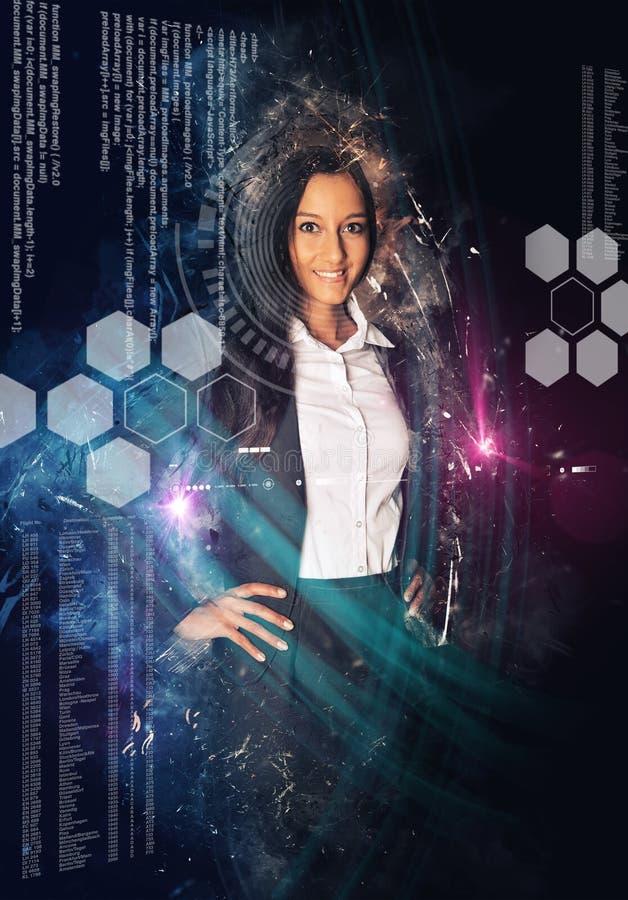 Mulher cercada por símbolos da ciência e da tecnologia imagens de stock