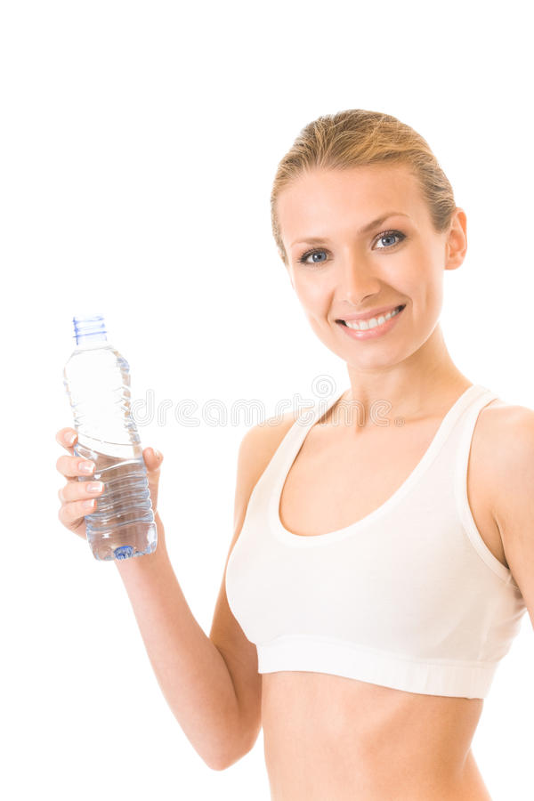 Mulher com água, isolada imagens de stock royalty free