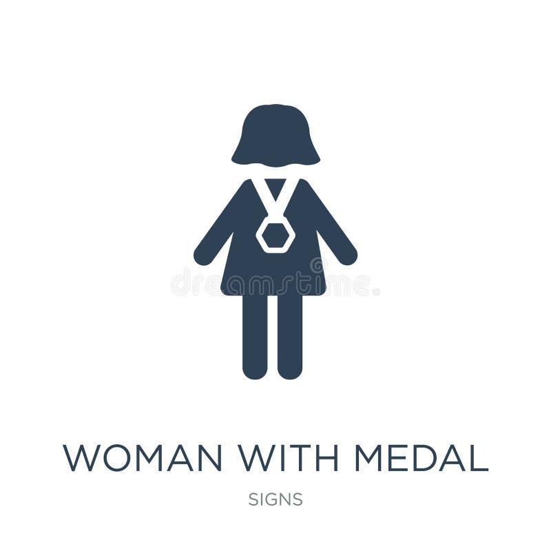 mulher com ícone da medalha no estilo na moda do projeto mulher com o ícone da medalha isolado no fundo branco mulher com ícone d ilustração stock