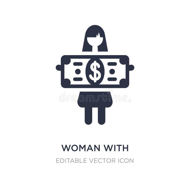 mulher com ícone da nota de dólar no fundo branco Ilustração simples do elemento do conceito do negócio ilustração royalty free