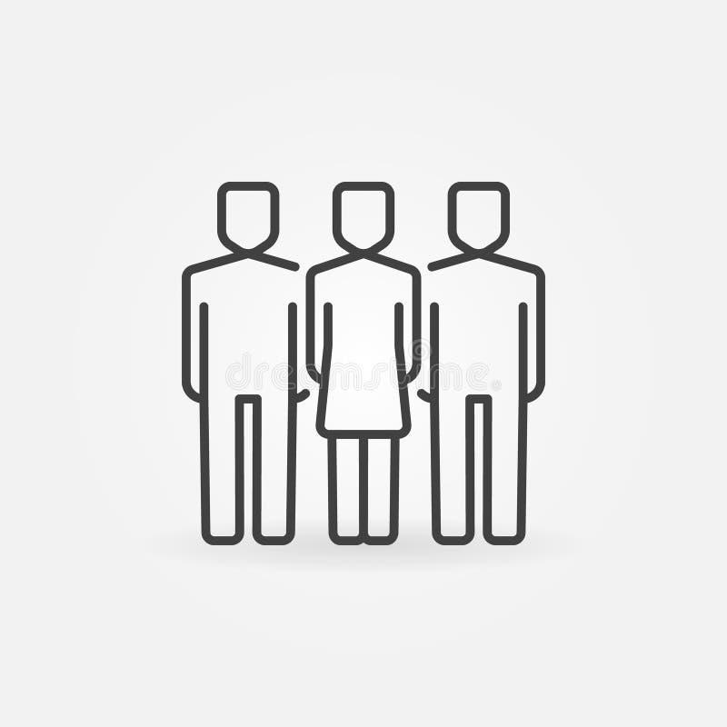 Mulher com ícone de dois homens ilustração do vetor