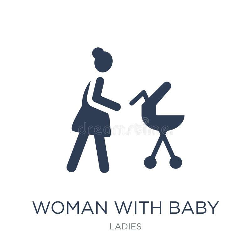 Mulher com ícone do carrinho de criança de bebê Mulher lisa na moda do vetor com Bab ilustração stock