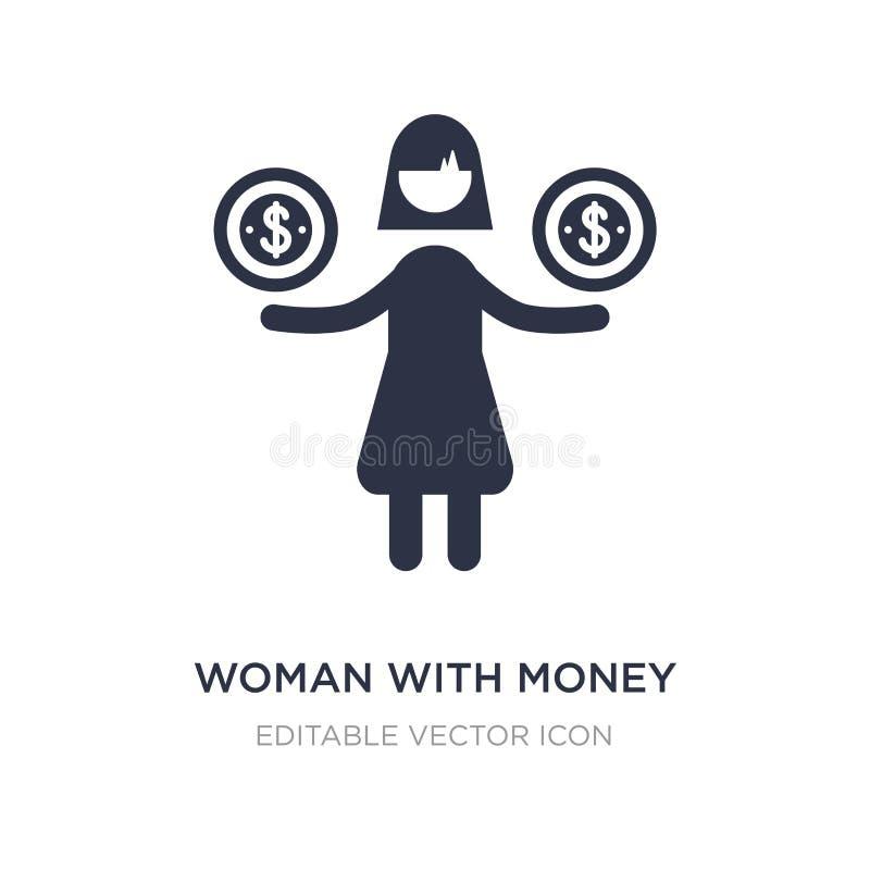 mulher com ícone do dinheiro no fundo branco Ilustração simples do elemento do conceito do negócio ilustração do vetor