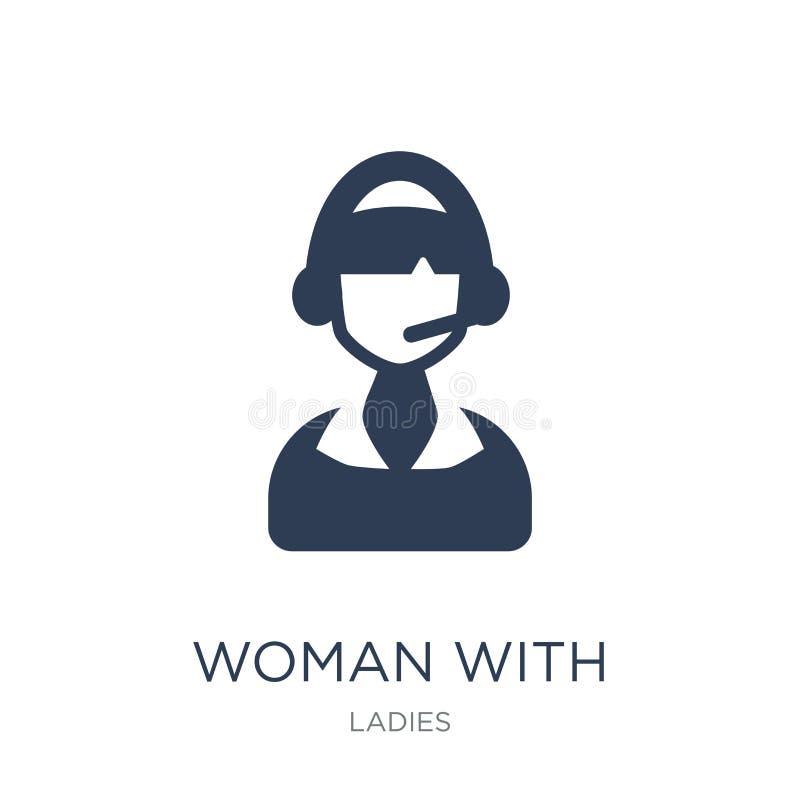 Mulher com ícone dos fones de ouvido e do microfone Vetor liso na moda Wo ilustração royalty free
