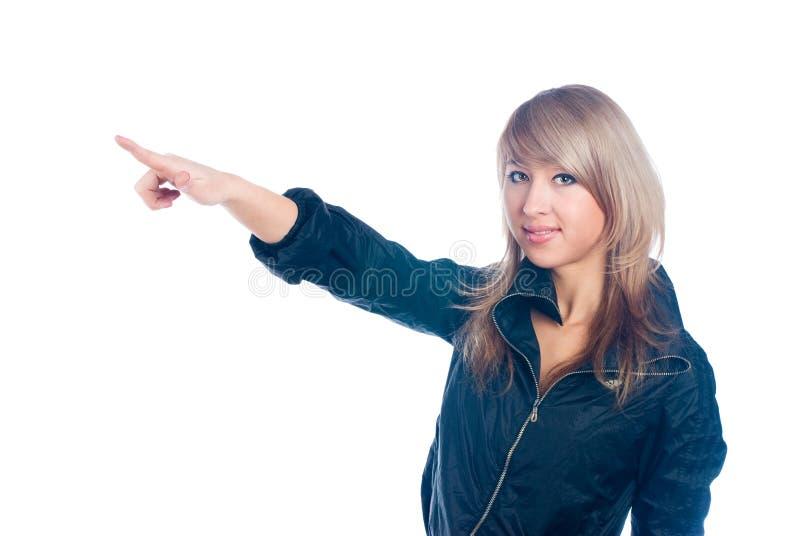 Mulher com apontar o dedo foto de stock
