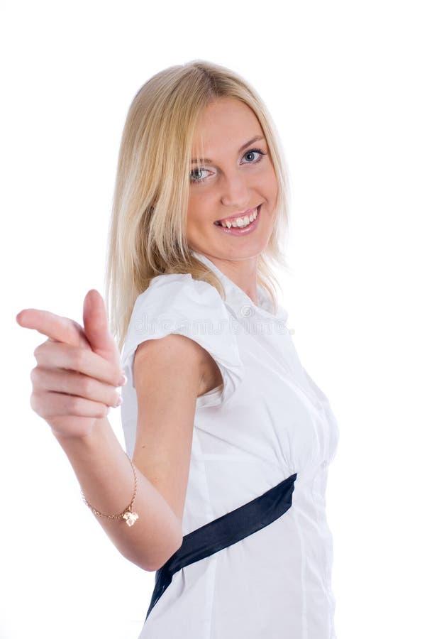 Mulher com apontar o dedo fotos de stock royalty free