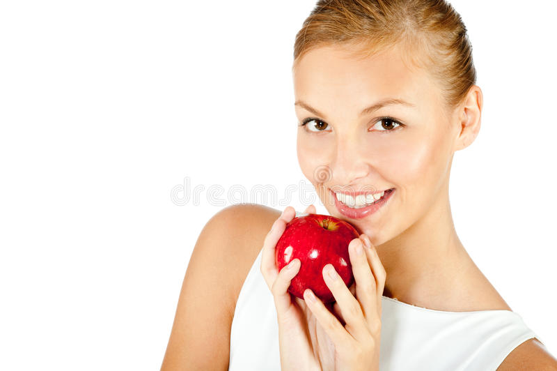 Mulher com Apple vermelho imagem de stock royalty free