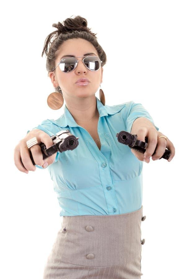Mulher com as armas isoladas em um fundo branco fotos de stock royalty free