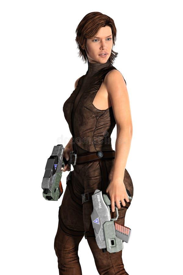 A mulher com as duas armas da ficção científica isolou-se ilustração royalty free