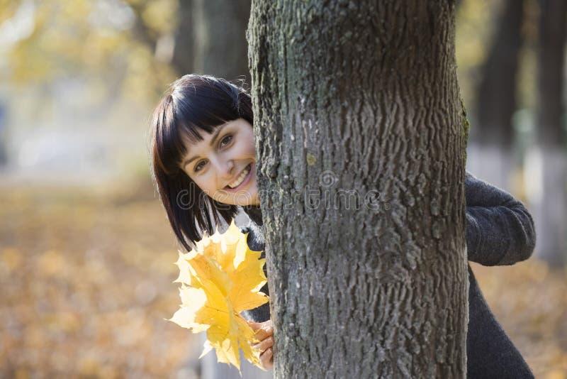 Mulher com as folhas outonais atrás da árvore fotografia de stock royalty free