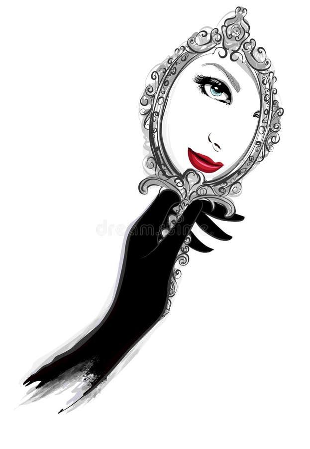 Mulher com as luvas pretas que olham um espelho ilustração royalty free